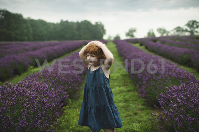 Toddler between rows of lavender, Campbellcroft, Canada - CUF07698 - Erin Lester/Westend61