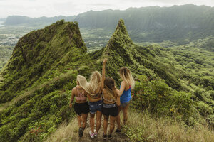 Rear view of friends on grass covered mountain, Oahu, Hawaii, USA - ISF01456