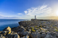 Spain, Balearic Islands, Mallorca, Colonia de Sant Jordi, Lighthouse at sunset - THAF02158