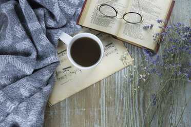 Cup of black coffee, book and spectacles - JUNF01051