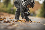 Young girl  outdoors, wearing knitted suit, collecting autumn leaves - CUF07923