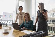 Businesswomen preparing presentation in meeting room - CUF09010