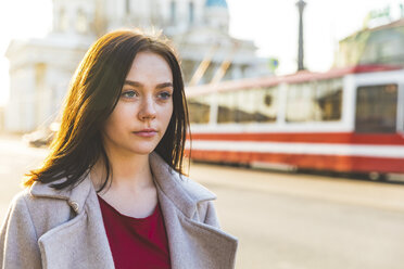 Russia, St. Petersburg, portrait of young woman in the city - WPEF00261