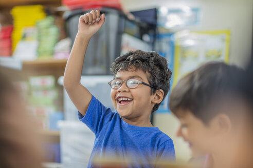 Happy boy with other children in kindergarten - ZEF15435