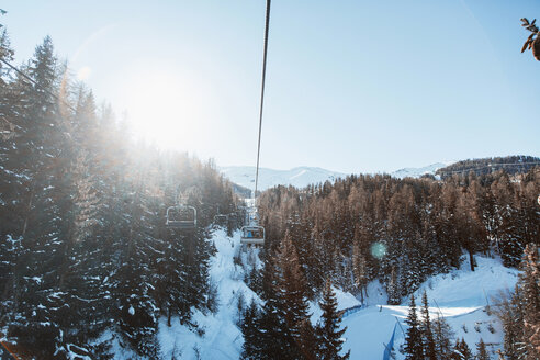 Ski lift over Alps, Gressan, Aosta Valley, Italy, Europe - CUF09379