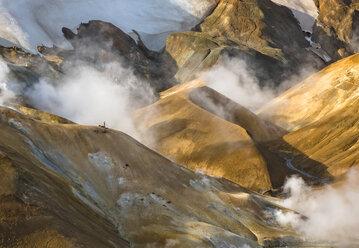 Geothermal smoke rising from mountains, Kerlingarfjoll, Iceland - CUF09511