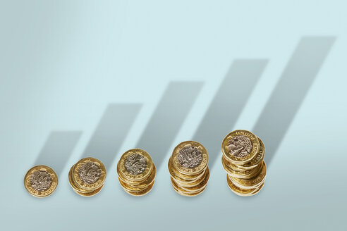 Ascending stacks of pound coins with bar graph growth shadow - CAIF20538