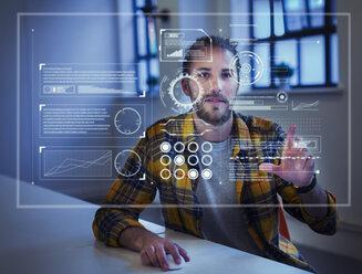 Businessman using futuristic hologram computer - CAIF20634