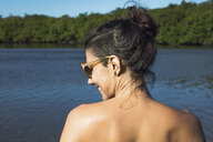 Woman in sea, Fortaleza, Ceara, Brazil, South America - CUF10462
