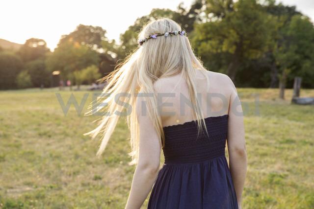 Rear view of woman in field wearing strapless dress - CUF10522