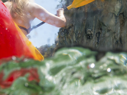 Rear view of woman sea kayaking, Koh Hong, Thailand, Asia - CUF10525