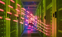 Interior of data centre, lights trails showing travelling data - CUF11233