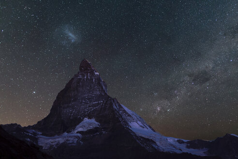 The Matterhorn under starry sky, Zermatt, Switzerland - CUF11254