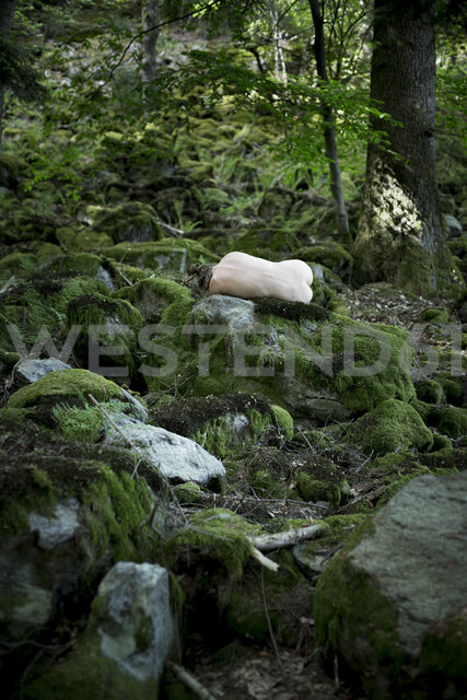 Naked young woman sleeping in forest - FCF01394