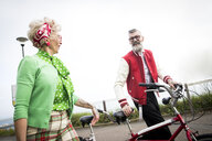 1950's vintage style couple with tandem bicycle at coast - CUF12105