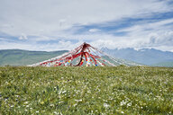 Prayer flags in landscape, Luhuo, Sichuan, China - CUF13141