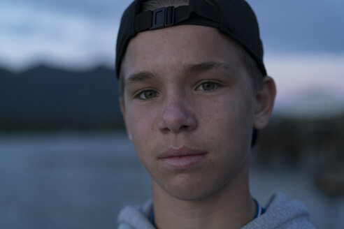 Portrait of teenage boy looking at camera, Pacific Rim National Park, Vancouver Island, Canada - ISF02166