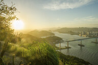 View to sea during sunset, Rio de Janeiro, Brazil - ISF02620