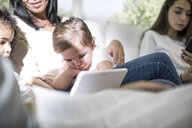 Family playing with digital tablet on sofa - ISF02865