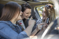 Three young women in car, looking at sat nav, laughing - ISF03194