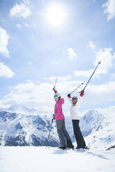 Mother and daughter on skiing holiday, Hintertux, Tirol, Austria - ISF04106
