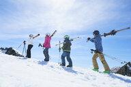 Family on skiing holiday, Hintertux, Tirol, Austria - ISF04112