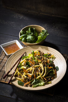 Asian mincemeat salad with macaroni, ginger, chili, garlic, carrot, spring onion, soy lemon sauce - MAEF12604