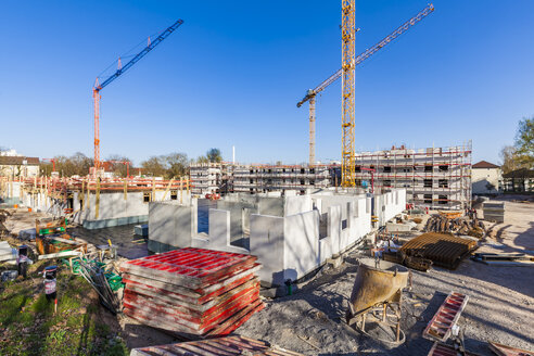 Germany, Stuttgart, view to construction sites of new multi-family houses - WDF04675
