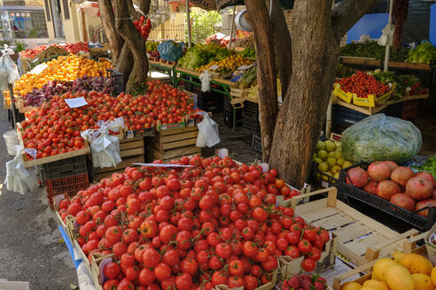 Albania, Tirana, stall with tomatoes, vegetables and fruits - SIEF07764