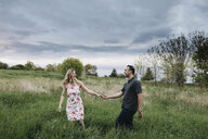 Romantic couple holding hands in field - ISF04590