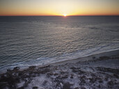 USA, Virginia, Aerial view of Virginia Coast Reserve, Atlantic Ocean, beach at sunset - BCDF00349