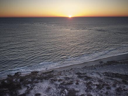 USA, Virginia, Aerial view of Virginia Coast Reserve, Atlantic Ocean, beach at sunset - BCDF00349