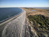 USA, Virginia, Aerial view of Virginia Coast Reserve, Atlantic Ocean, beach and marshland - BCDF00355