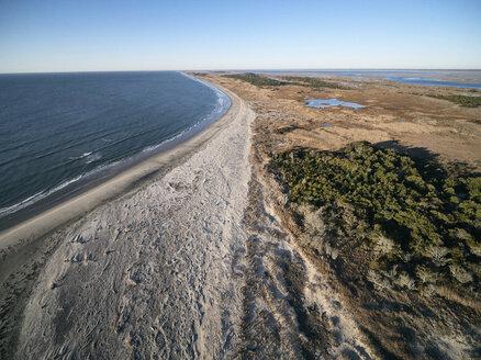 USA, Virginia, Aerial view of Virginia Coast Reserve, Atlantic Ocean, beach and marshland - BCDF00355