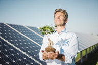 Mature man looking at privet, solar plant - MOEF01126