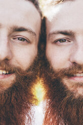 Cropped close up portrait of young male hipster twins with red beards - CUF14653