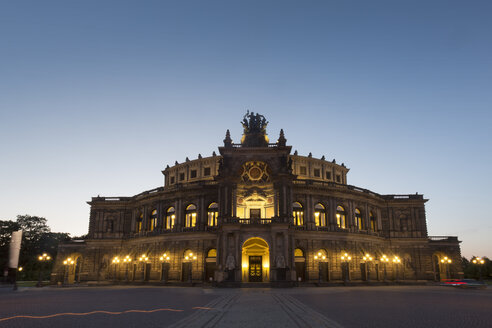 Germany, Dresden, view to Semperoper at blue hour - FCF01403