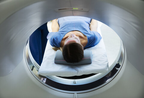 Female patient preparing for CT-scan - CUF16237