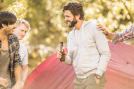 Four men drinking beer whilst camping  in forest, Deer Park, Cape Town, South Africa - CUF17098