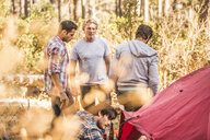 Four men camping together in forest, Deer Park, Cape Town, South Africa - CUF17104