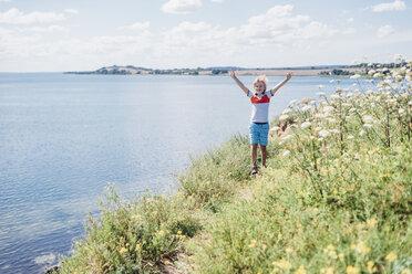 Germany, Ruegen, Middelhagen, Moenchgut, boy on coastal trail - MJF02277