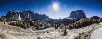 Panoramic view of mountain landscape and winding road, Dolomites, Italy - CUF17862