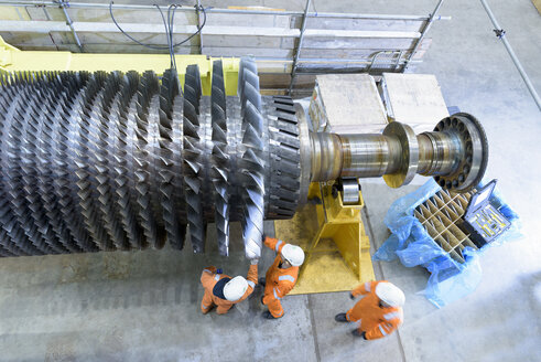 Overhead view of gas turbine under repair in gas-fired power station - CUF18094