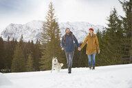 Couple walking husky in snow covered landscape, Elmau, Bavaria, Germany - CUF18964
