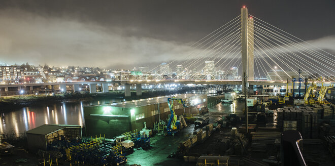 Cityscape of Tacoma Narrows bridge and the Narrows at night, Tacoma, Washington, USA - ISF07281