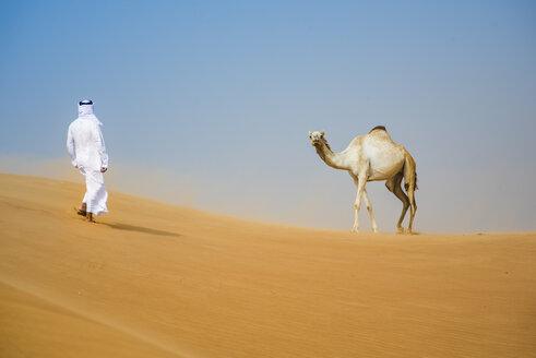 Middle eastern man wearing traditional clothes walking toward camel in desert, Dubai, United Arab Emirates - CUF19218