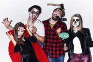 Friends in creepy Halloween costumes, portrait - ABIF00499