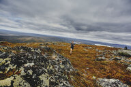 Man trail running on rocky cliff top, Keimiotunturi, Lapland, Finland - CUF20111