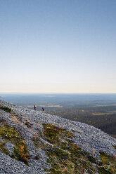 Trail runners ascending rocky steep hill, Kesankitunturi, Lapland, Finland - CUF20123