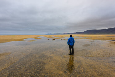 Man standing in pool, looking at view, rear view, Westfjords, Iceland - CUF20687
